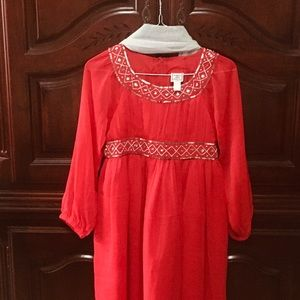 Cotton Kids Red Chiffon Dress  14